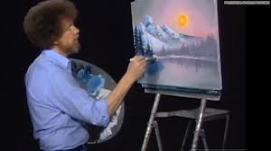 Bob Ross painting a happy tree