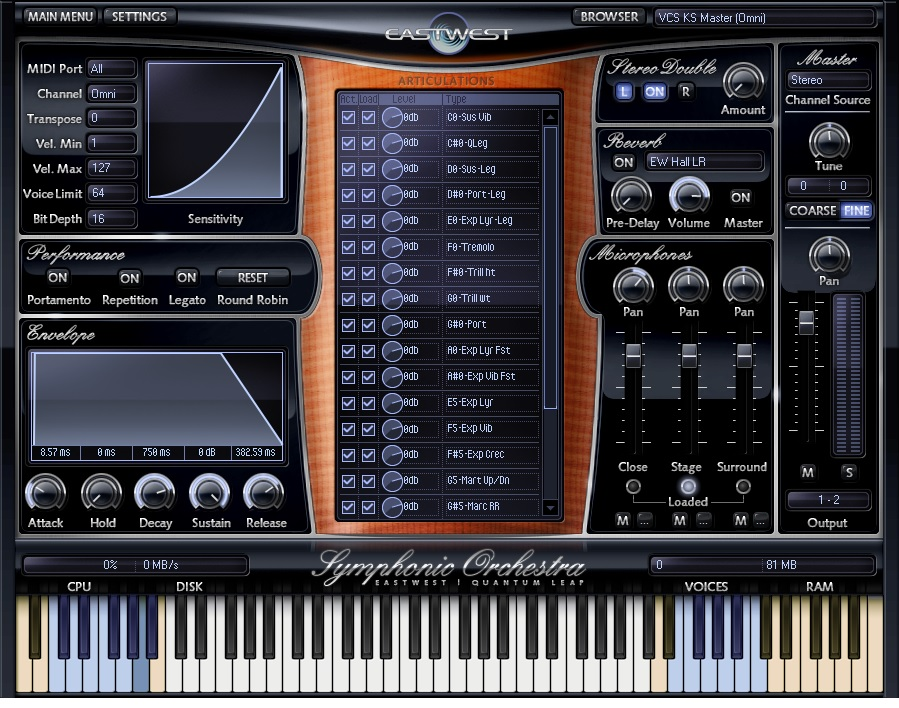 EWQL Symphonic Orchestra - Interface